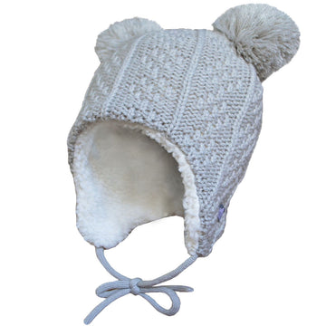 Grey Bear Ear Flap Hat