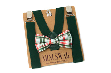 Red and Green Plaid Bow Tie & Hunter Suspenders