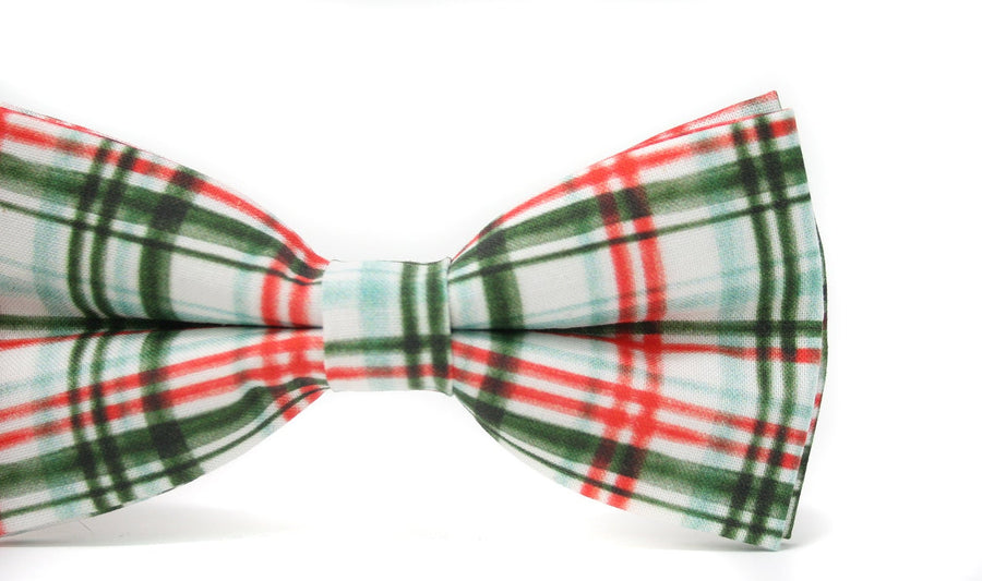 Red and Green Plaid Bow Tie & Red Suspenders