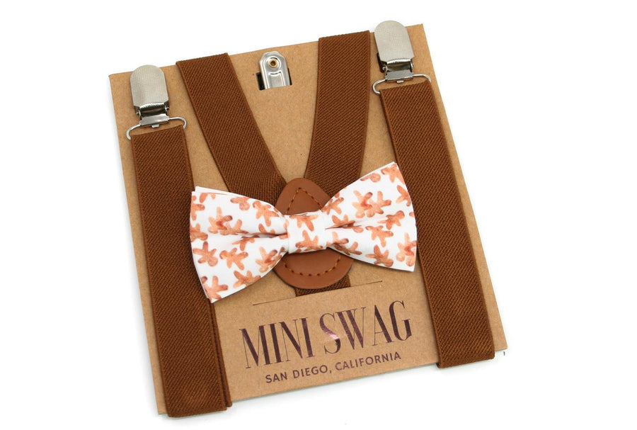 Gingerbread Bow Tie & Brown Suspenders