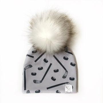 Grey Hockey Pom Beanie