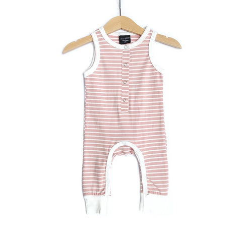 Sleeveless Stripe Snap Romper - Blush & White
