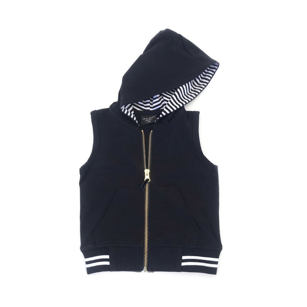 Zip Hooded Vest - Black