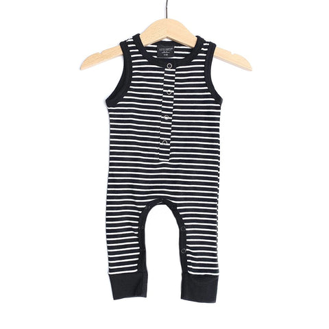 Sleeveless Stripe Snap Romper - Black & White