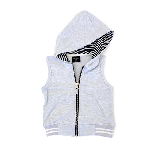 Zip Hooded Vest - Soft Grey