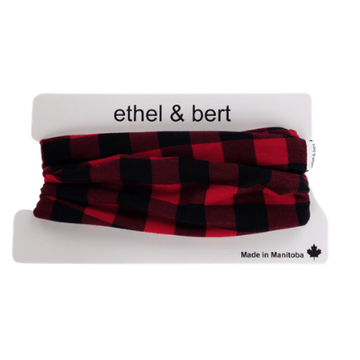 Infinity Scarf - Red and Black Buffalo Plaid