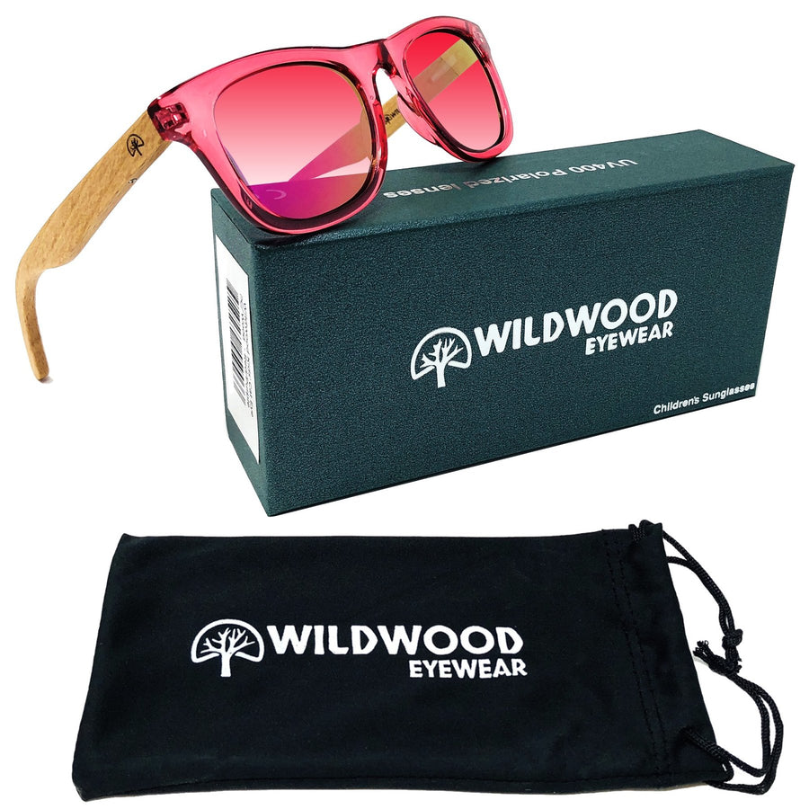 Kids Beech Wood Sunglasses - Pink