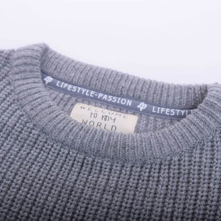 KNIT SWEATER (MALLOW) - Heather Gray