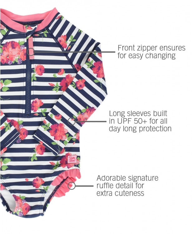 Girls Rosy Floral Stripe Long Sleeve One Piece Rash Guard