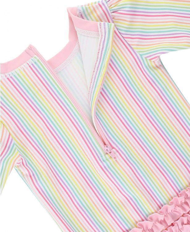 Rainbow Stripe One Piece Rash Guard