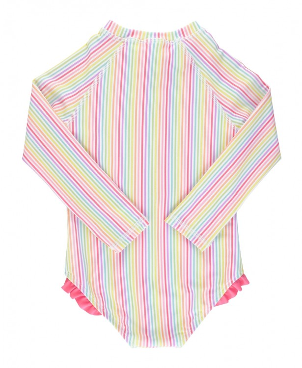 Girls Rainbow Stripe Long Sleeve One Piece Rash Guard