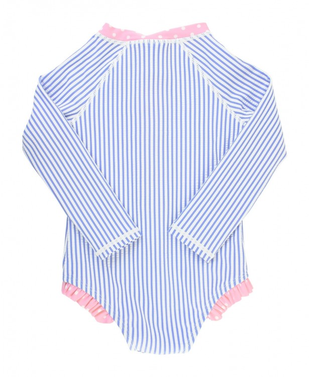 Girls Periwinkle Blue Seersucker Long Sleeve One Piece Rash Guard