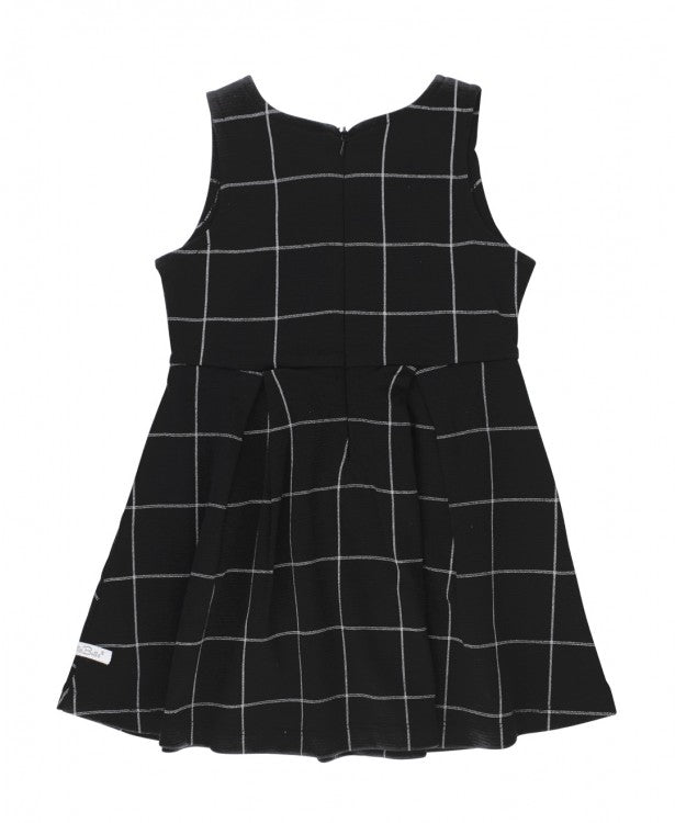 Black Windowpane Ponte Knit Dress