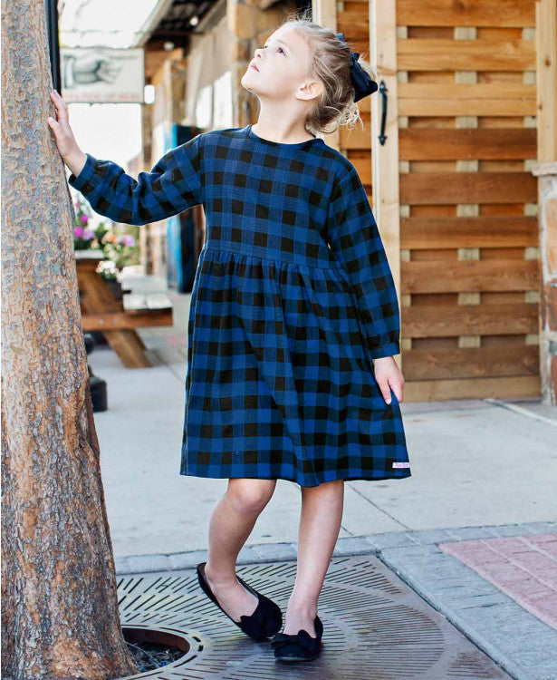 Sapphire & Black Buffalo Plaid Dress