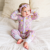 Pink Breakfast Buddies Bamboo Zip Romper/Sleeper