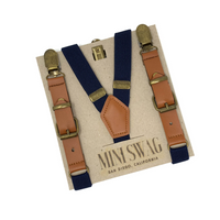 Navy Leather Suspenders