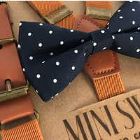 Navy Dot Bow Tie & Camel Leather Suspenders