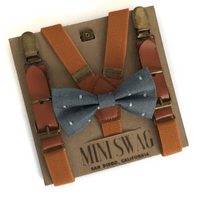 Chambray Dot Bow Tie & Camel Leather Suspenders