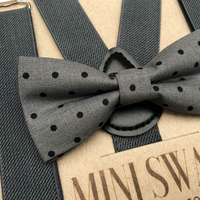 Gray Dot Bow Tie & Dark Gray Suspenders