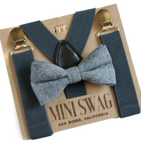 Solid Gray Bow Tie & Suspenders Set