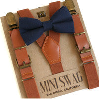 Solid Navy Bow Tie & Camel Leather Suspenders