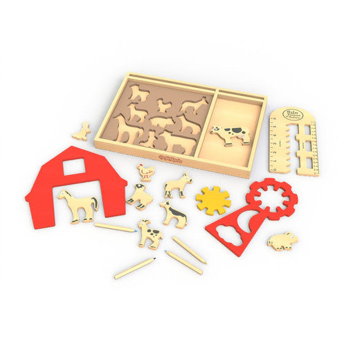 ART ON THE FARM STENCIL KIT & PLAYSET