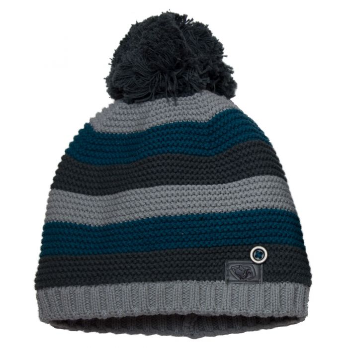 Striped Knit PomPom Hat