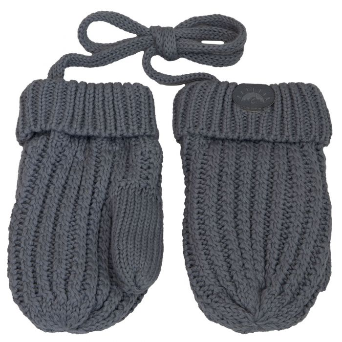 Cotton Knit Baby Mittens - Grey