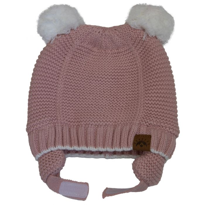 Unisex Cotton Knit Double Pompom Winter Hat - Ballet Pink