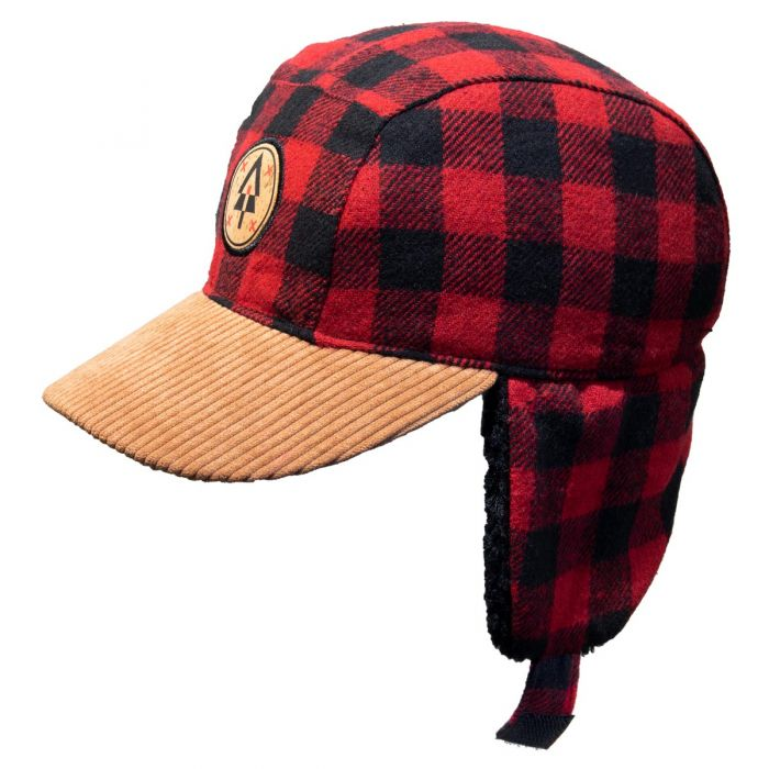 Winter Plaid Ball Hat - Red