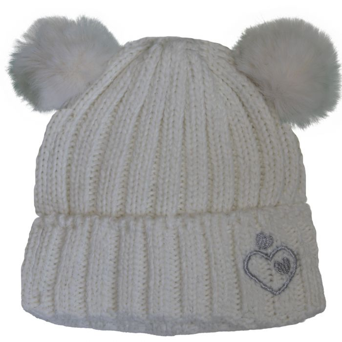 Girls Cashmere Touch Knit Double Pompom Hat- Cream