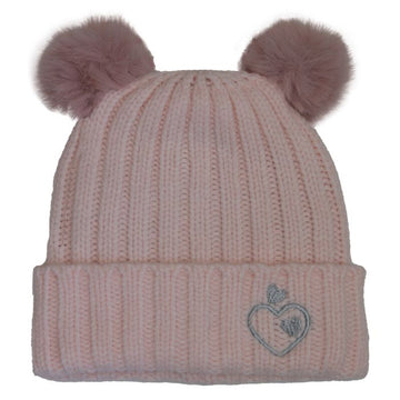 Girls Cashmere Touch Knit Double Pompom Hat- Soft Pink