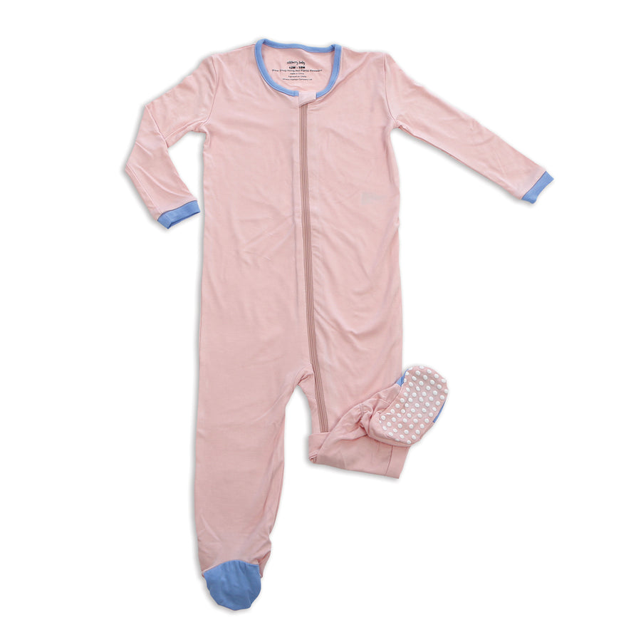 Bamboo Footed Sleeper w/Zipper (Pink Cloud)