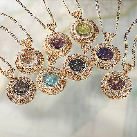 Floating Gemstone Turkish Filigree Necklace w/ 36in. Exclusive Lovelink Chain