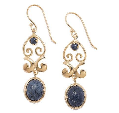 Dumortierite Ornate Earrings