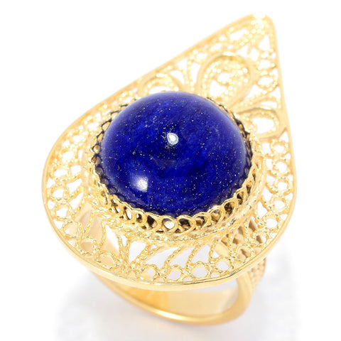 14mm Lapis Pear Shaped Filigree Ring