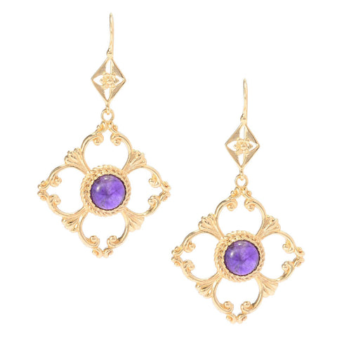8mm Gemstone Venetian Cut-out Earrings