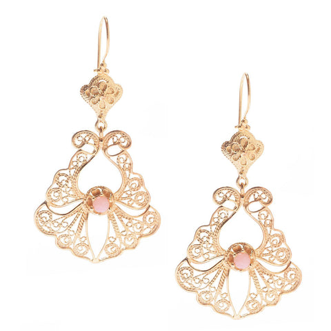 Pink Opal Filigree Earrings