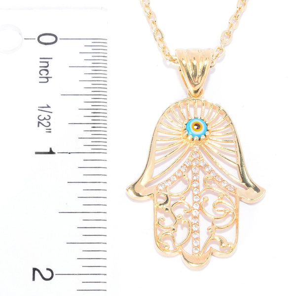 Evil eye and White Topaz Hamsa Pendant  w/ 24 in chain