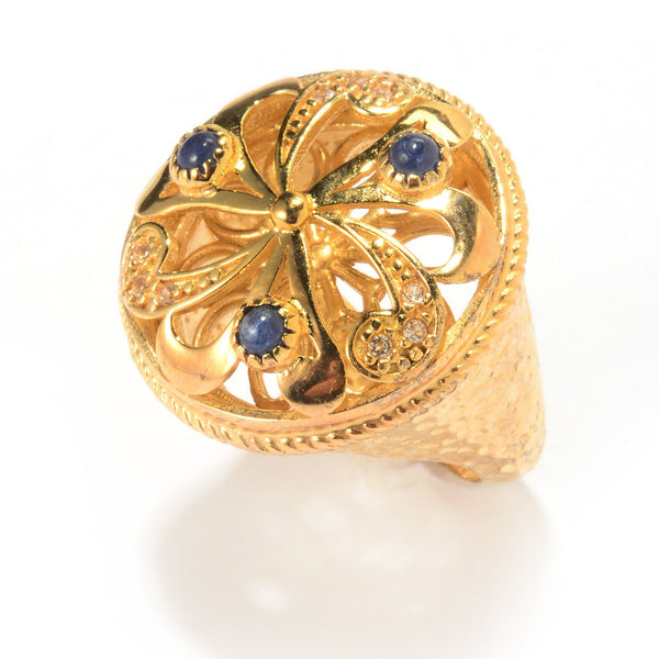 Floral Swirl Ruby or Blue Sapphire Gemstone Ring