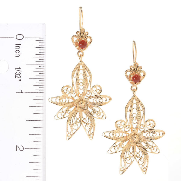 Carnelian Floral Filigree Earrings