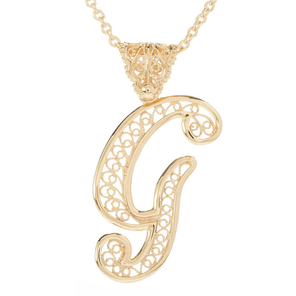 Exquisite Turkish Filigree Initial Necklace w/30 in. Chain