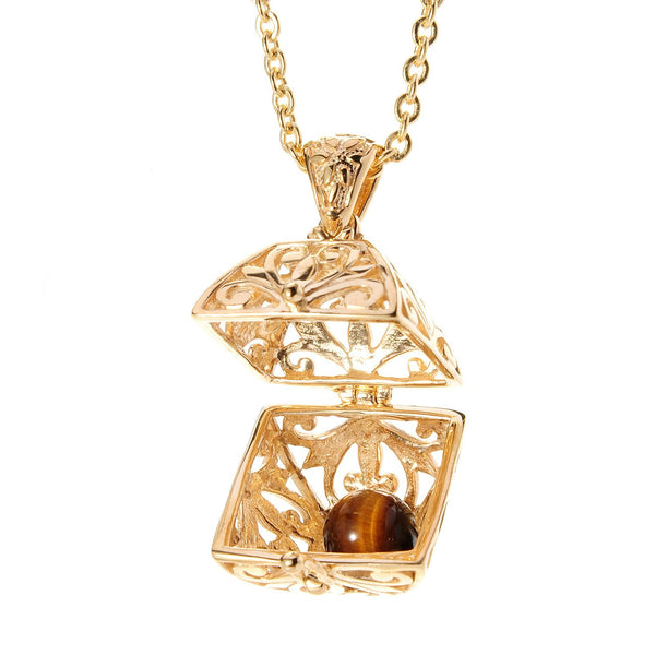 Treasure Chest Charm Box Pendant w/ Good Luck Gem and 36 in. chain