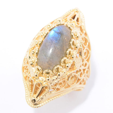 14 x 7mm Labradorite Filigree Ring