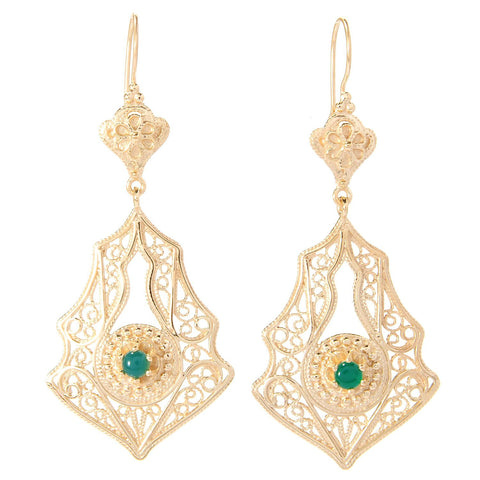 Agate & Exotic Shaped Filigree Drop Earrings