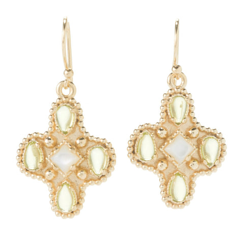 4.40ctw Gem and Mother of Pearl Byzantine Earrings