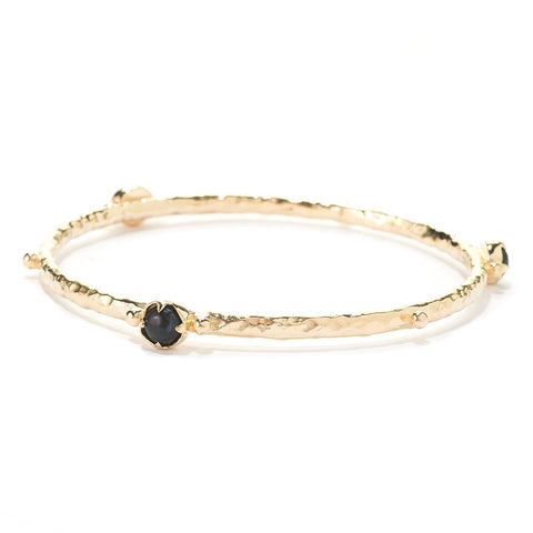 Gemstone Hammered Bangle Bracelet
