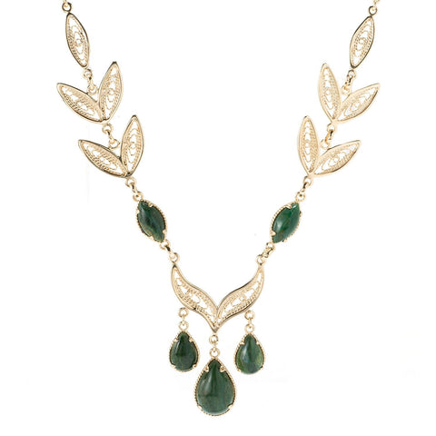 African Jade Leaf Filigree Necklace