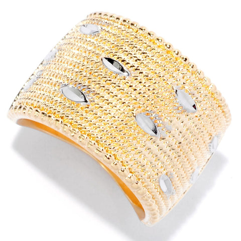 Braided and Diamond Cut, Wide, 2 Tone Turkish Band Ring