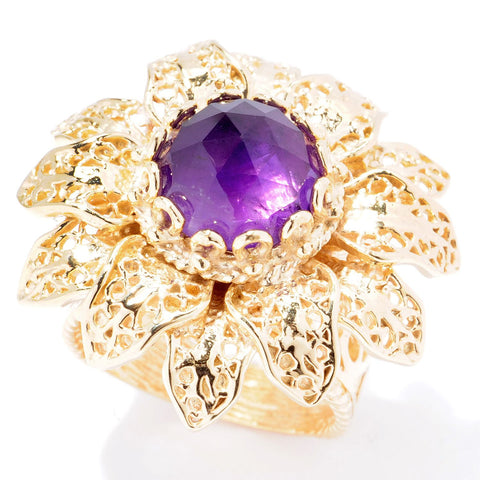 10mm Gemstone Flower Turkish Filigree Ring